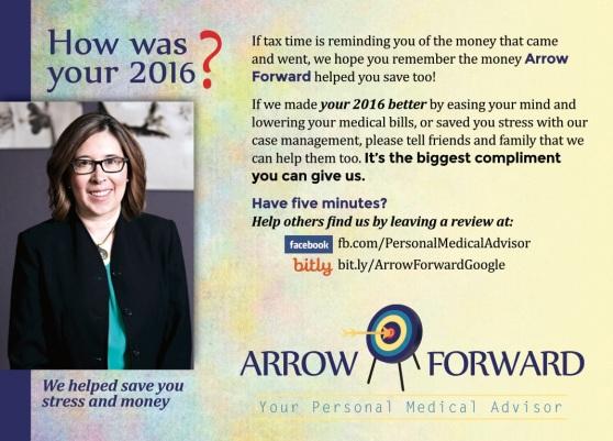 Arrow Forward postcard copy by Jacquelyn Gutc of Magpie Media 2017